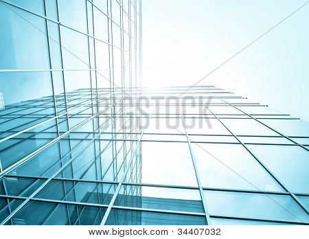 underside view to steel glass high-rise building