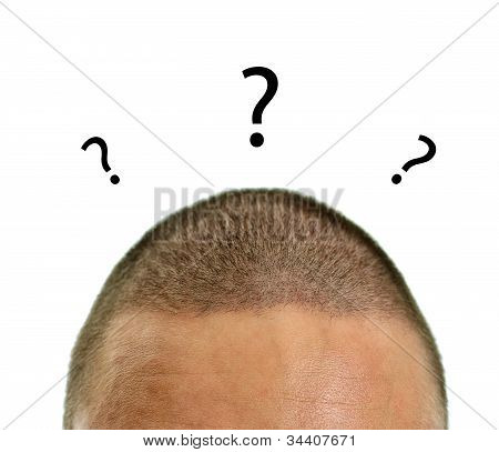 Closeup Of Mans Head With Questions. Isolated On White.