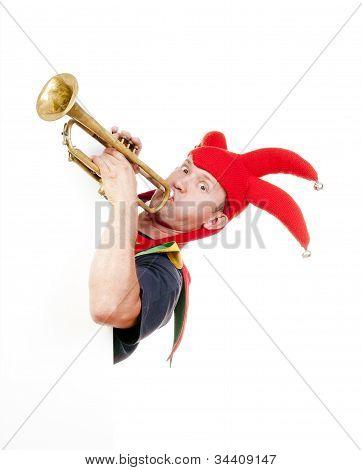 Jester Blowing Trumpet