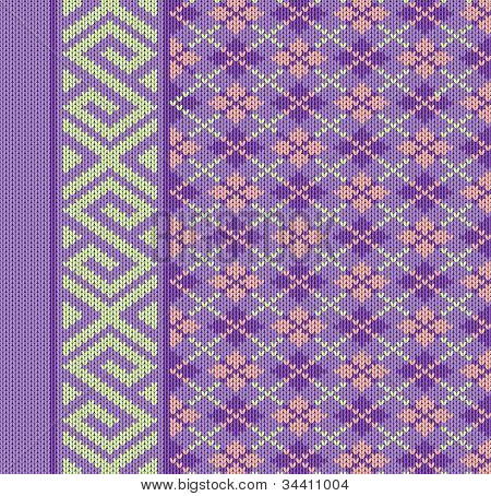 Knit Texture For Book Cover Or Flayer Design. Fabric Background With Ornament