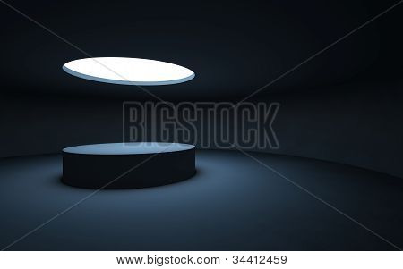 Stand by your object, standing in a dark room and illuminated by light from a round window in the ce