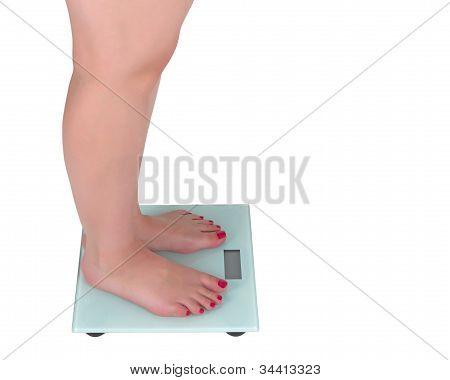 Woman and digital scale