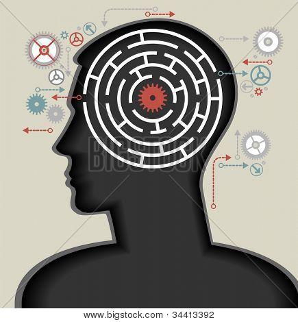 silhouet van het hoofd, de hersenen en de pulsen. proces van menselijke denken. Het concept van intelligentie. P