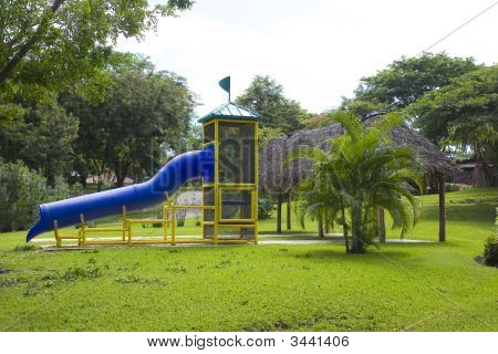 Playground With Blue Slide