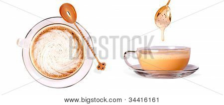 Set Of Different Views To Black Coffee Cup And Spoon Isolated