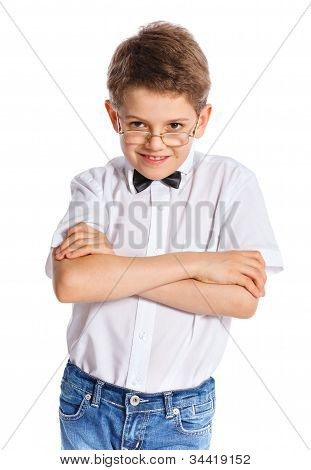 cute boy on white background