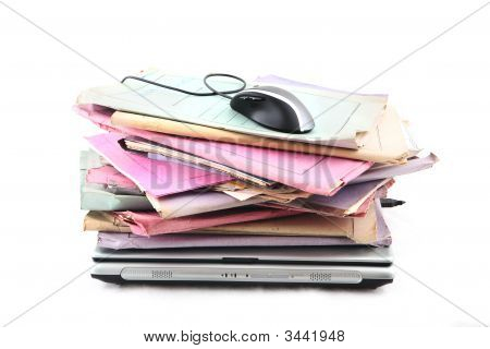 Folders With Laptop And Mouse