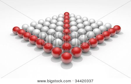 Conceptual image with spheres, teamwork