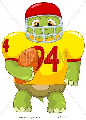 Cartoon Character Funny Turtle Isolated on White Background. Rugby. Vector EPS 10.