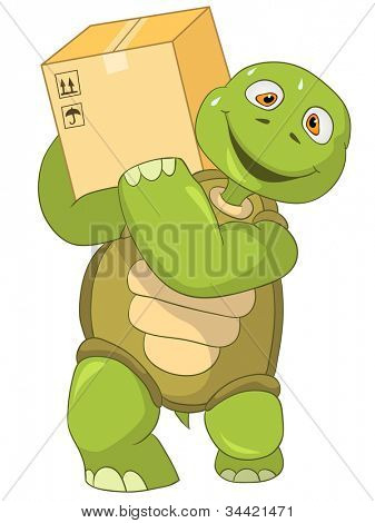 Cartoon Character Funny Turtle Isolated on White Background. Worker. Vector EPS 10.