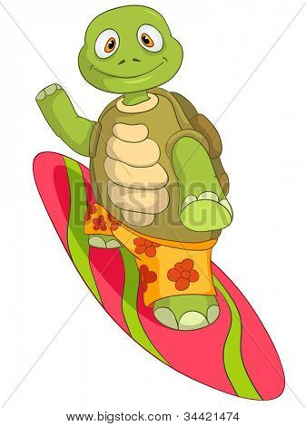 Cartoon Character Funny Turtle Isolated on White Background. Surfing. Vector EPS 10.