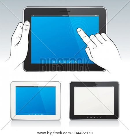 Vector de Digital tablet pc con pantalla en blanco, las manos, color blanco y negro.