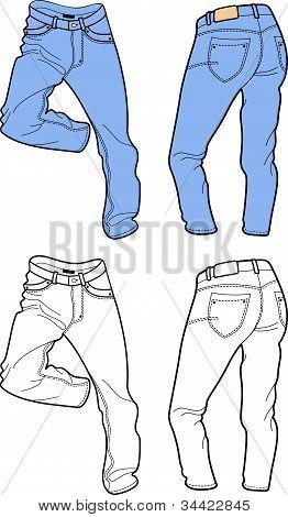 Blue man's jeans (front, back views)