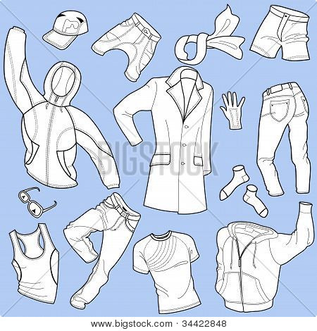 Seamless background man clothes collection
