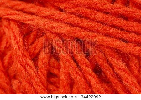 Macro Shot Of Orange Yarn Or Wool
