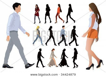 Group of elegant dressed in fashion clothes young people. Long legs and perfect body proportions. Vector color illustration on white.