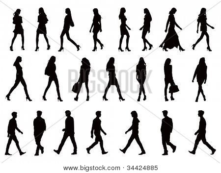 Over twenty young people silhouettes. Perfect body proportions, long legs. Black vector illustration over white background.