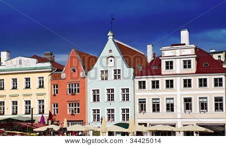 Old city Tallinn Estonia. Bright multicolor houses on the Town hall square.