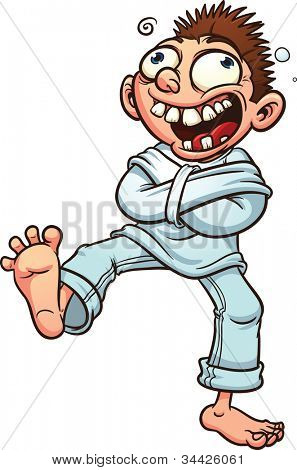 Crazy cartoon guy in a straight jacket. Vector illustration with simple gradients. All in a single layer.