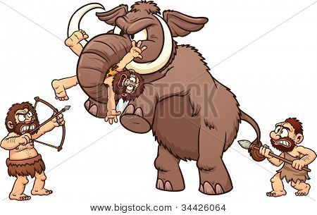 Cavemen fighting a mammoth. Vector illustration with simple gradients. Each element in a separate layer for easy editing.
