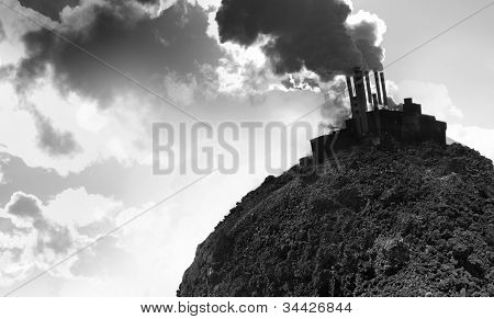 Collage of an empty planet's soil and smoking power plant