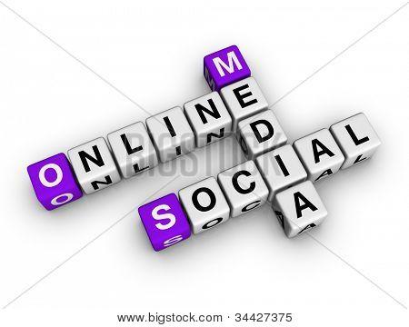 meios de comunicação sociais on-line (série de palavras cruzadas de cubos)