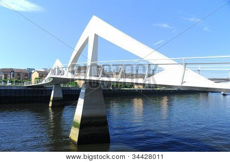 Squiggly Bridge over the River Clyde in the centre of Glasgow, Scotland