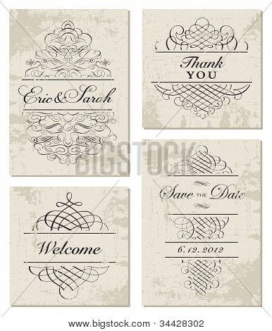 Vector Distressed Ornament and Frame Set. Easy to edit, all ornaments are separated. Perfect for invitations or announcements.