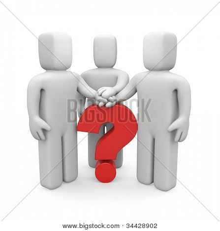 3d people with hands on top of question mark. Image contain clipping path