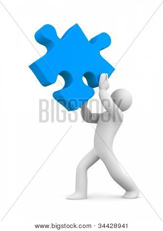 3d person with puzzle