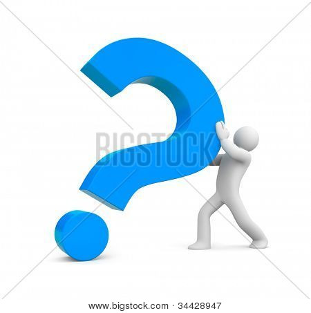 3d person with red question mark. Image contain clipping path