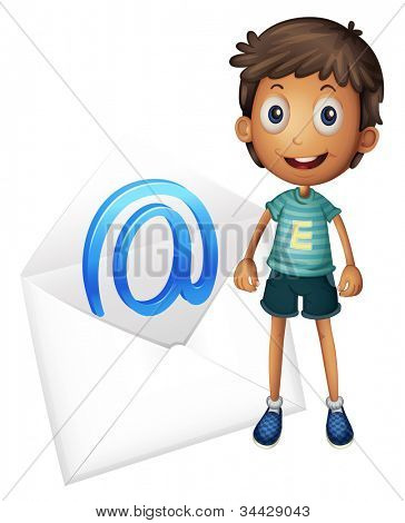 illustration of a boy with mail envelop on a white