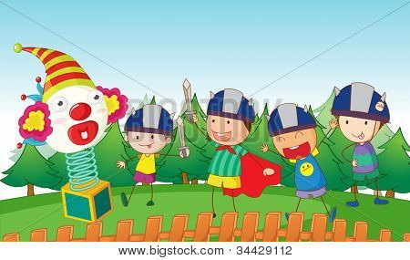 illustration of kids playing with sword and joker