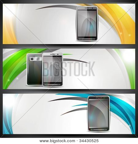 Website banner or header with colorful abstract design and smart mobile phones . EPS 10.