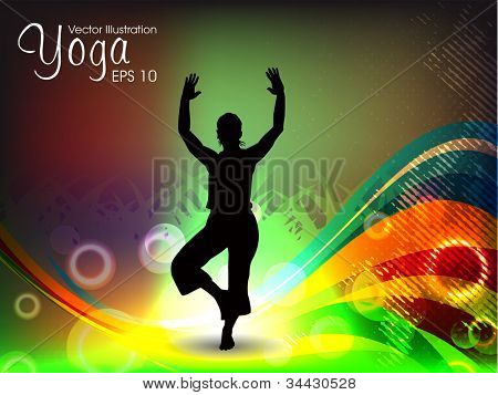 Female silhouette in yoga posture on colorful wave background. EPS 10.