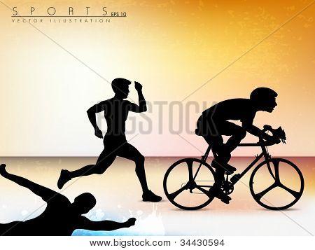 Vector illustration showing the progression of triathlon athletes. Sport background. EPS 10.