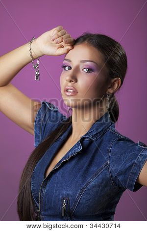 Pretty young woman with bracelet