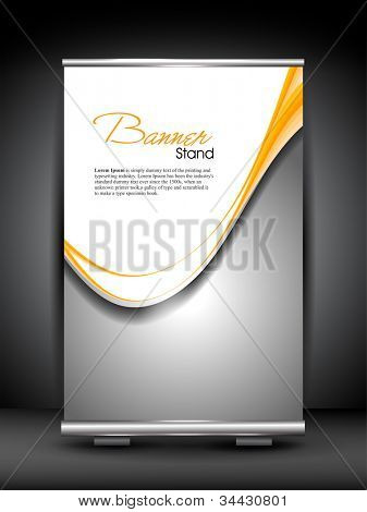 Stand banner with roll up display for product promotion or template design with shiny grey wave pattern. EPS 10