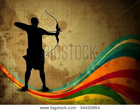 Silhouette of a archer aiming target on grungy wave, archer sport background. EPS 10.