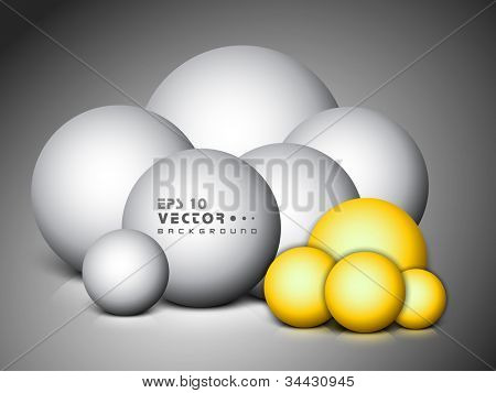 3d abstract spheres with reflective surface in silver and golden color. EPS 10.