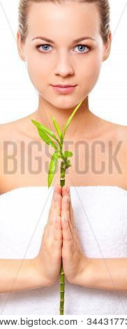 blonde girl holding the bamboo