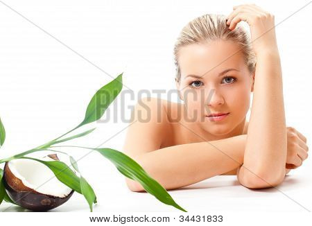 blond girl portrait, spa and cosmetics theme