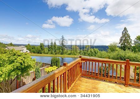 Balcony Natural Wood With View Of The Lake