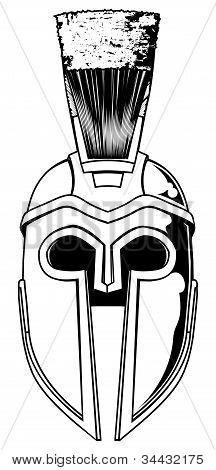 Monochrome Spartan Helmet Illustration