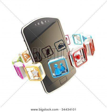 Mobile concept surrounded by applications