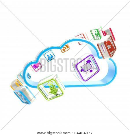 Mobile application cloud technology icon