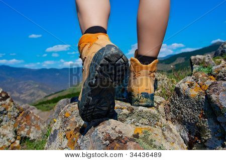 Hiking boot on the rocks