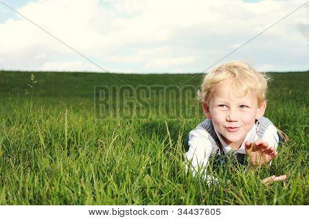 Happy Little Boy Showing Appreciation