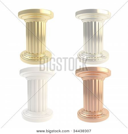 Column pillar podium isolated, set of four