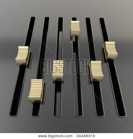 Black mixer panel with golden sliders